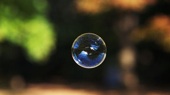 Обои Разноцветный мыльный пузырь на темном фоне