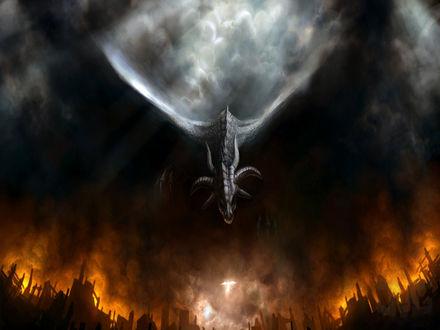 Обои Дракон вылетает из дыма и огня на ангела с мечом в руке