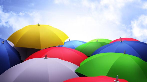 Обои Разноцветные зонтики на ясном небе