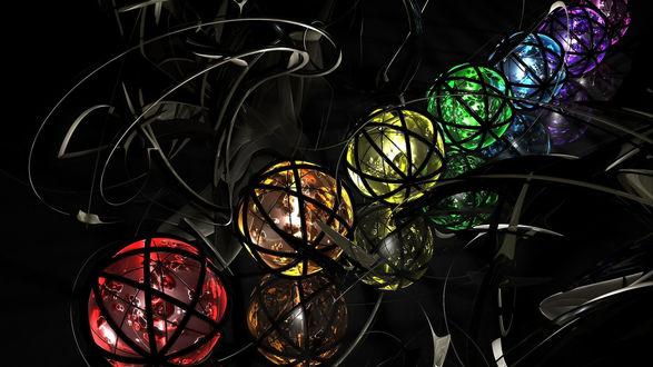 Обои Разноцветные шары на темном фоне