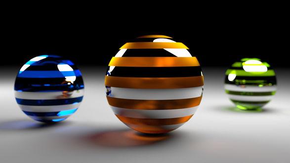 Обои Разноцветные полосатые шары на белой пповерхности