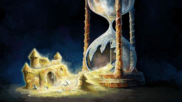 Обои Из разбитых песочных часов высыпается песок принимая форму замка