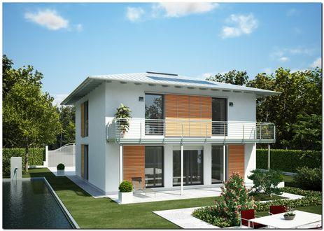 Обои Белый двухэтажный дом с большими окнами, балконом на втором этаже, шезлонгом, садом и бассейном