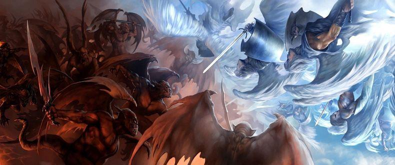 Обои Битва ангелов с демонами