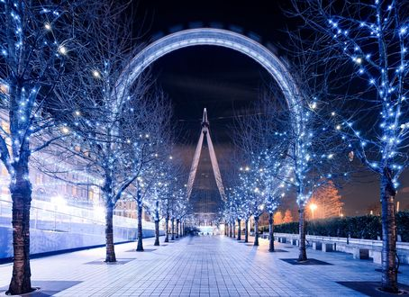 Обои Колесо обозрения Лондонский глаз / London Eye в Лондоне, Великобритания / London, United Kingdom