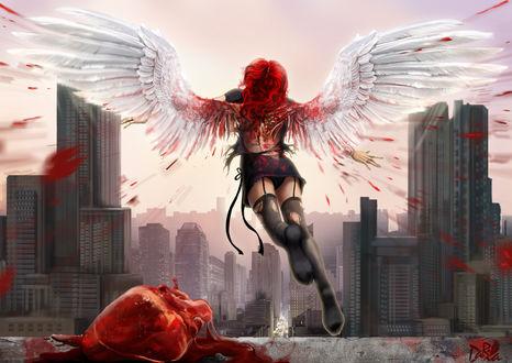 Обои Ангел с вырванным сердцем, падает с крыши