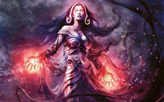 Обои Женщина-ведьма с огненными сферами в руках