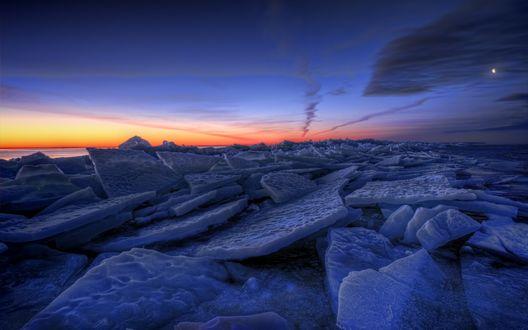 Обои Льдины в озере, Швеция / Sweden