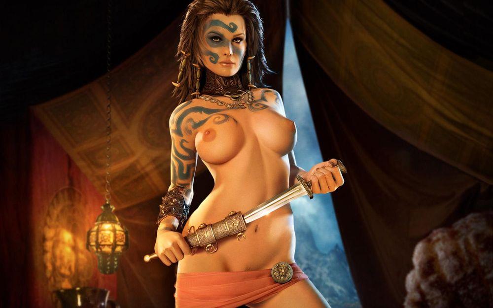 картинки голые девушки ножом