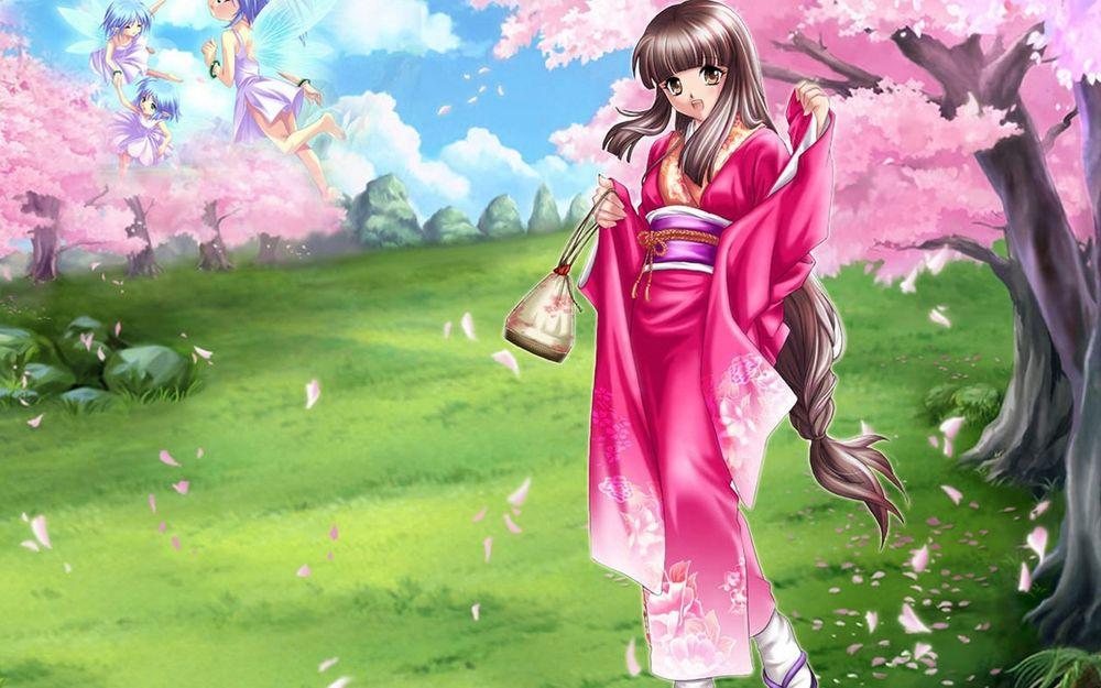 Обои для рабочего стола Аниме девушка в кимоно на поляне возле цветущей сакуры, на заднем плане летают девушки-феи из игры ''Страна чудес смертников'' / ''Deadman Wonderland''