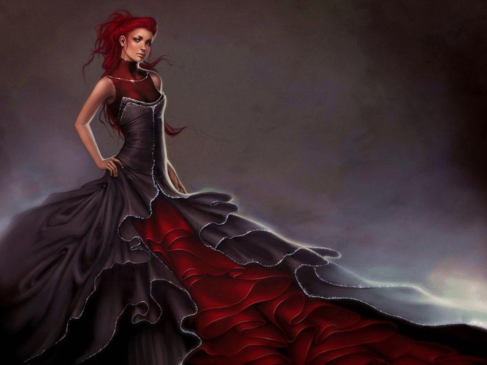 Девушки черно красное фото