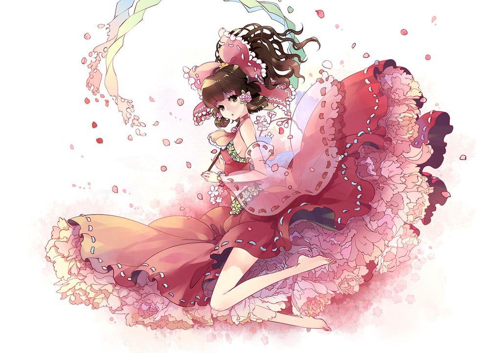 Аниме в розовом платье