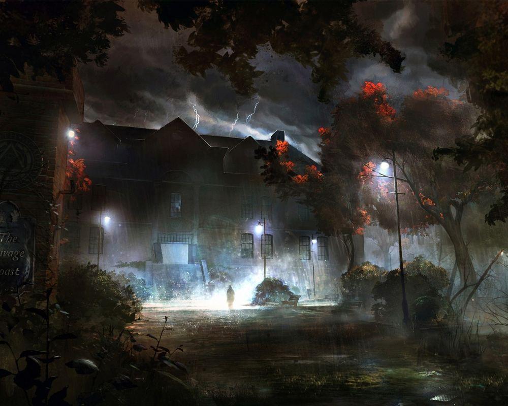 Обои для рабочего стола Человек стоит перед мрачным темным домом среди бушующей грозы и сверкающих молний