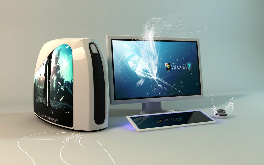 Обои для рабочего стола На мониторе компьютера высвечивается операционная система Windows 7
