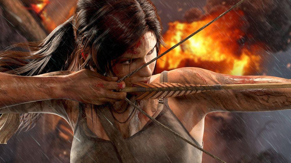 Обои для рабочего стола Лара Крофт / Lara Croft целится из лука из игры Tomb Raider / Расхитительница гробниц