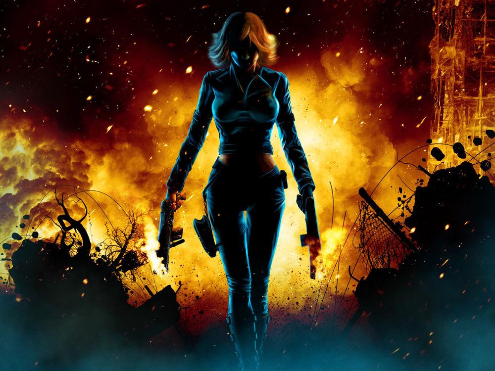 Обои Девушка выходит из пламени с автоматами в руках на рабочий стол