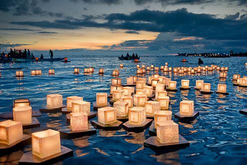 Обои Множество бумажных фонариков c записками плывут по воде на фестивале в Гонолулу, Гавайи, США / Honolulu, Hawaii, USA