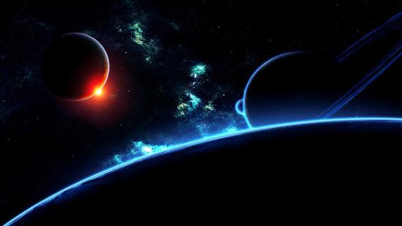 Обои Солнце выглядывает из-за планеты в космосе