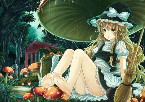 Обои Marisa Kirisame / Мариса Кирисаме спряталась от дождя под огромным грибом, из серии компьютерных игр Тохо / Touhou Project