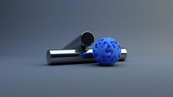 Обои Синий шарик и блестящие металлические цилиндры на сером фоне