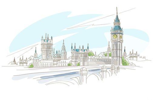Обои Мост через Темзу, Биг Бен и Тауэр, Лондон, Англия / Bridge over the Thames, Big Ben and the Tower of London, England