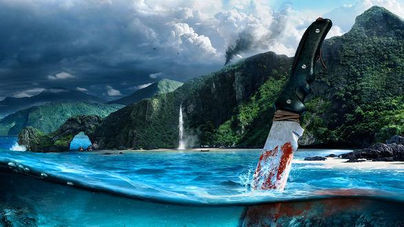 Обои Нож в крови в воде, картинка с игры Far Cry3