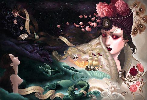 Обои Девушки, морское чудовище, злодеи, кони, корабль и Посейдон, Мир художницы Michelle Mia Araujo / Мишель Миа Ароджо