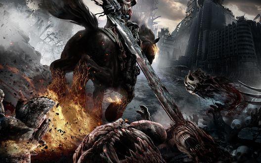 Обои Война / War всадник Апокалипсиса верхом на адском скакуне Руине, в руке меч Chaoseater / Пожиратель хаоса, из игры Darksiders