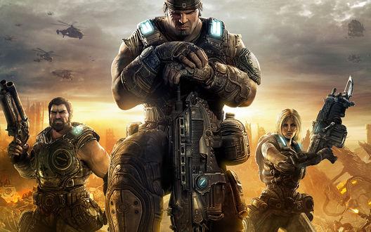 Обои Доминик Сантьяго, Маркус Феникс и Анна Штрауд, персонажи из игры Gears of War 3 / Шестерни войны