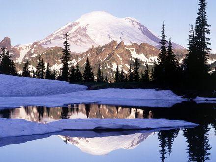 Обои Озеро с видом на заснеженную гору