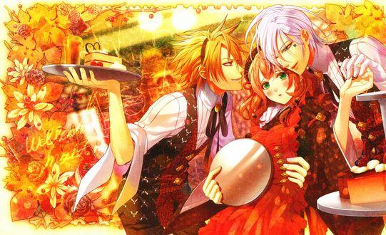 Обои Ikki / Икки и Toma / Тома, обнимающие Героиню / Heroine, аниме Amnesia / Амнезия