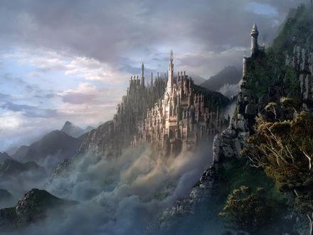 Обои Сказочный замок высоко в горах