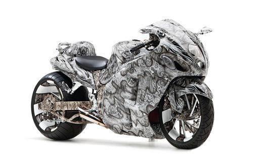 Обои Красивый мотоцикл на белом фоне