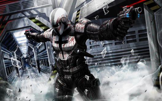 Обои SciFi Warrior с оружием в руках