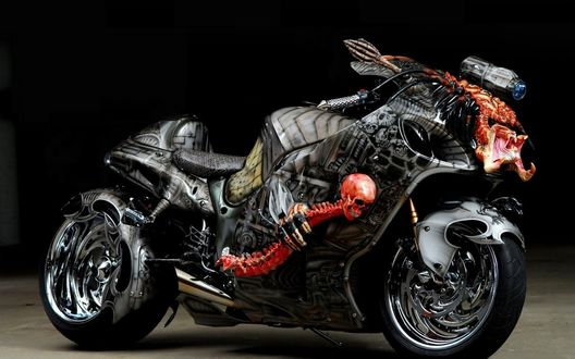 Обои Мотоцикл с черепами
