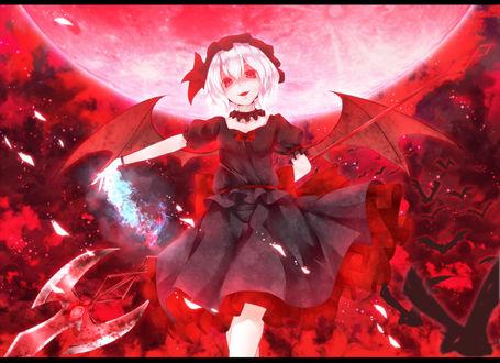Обои Remilia Scarlet / Ремилия Скарлет на фоне кровавой луны и стаи летучих мышей, из серии компьютерных игр Тохо / Touhou Project