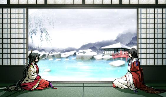 Обои Koga Rindou и Mikado Ryuumei из игры - визуальной новеллы Kajiri Kamui Kagura