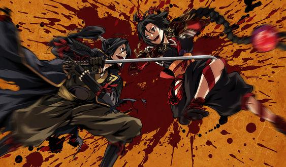Обои Mibu Soujirou сражается с Kujou Shiori из игры - визуальной новеллы Kajiri Kamui Kagura