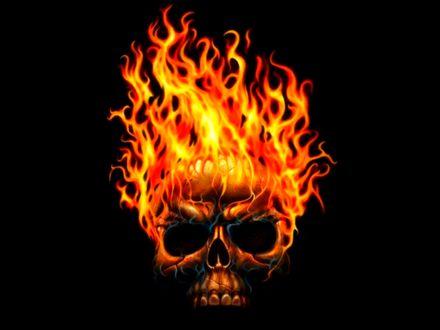 Обои Пылающий огнем череп на черном фоне