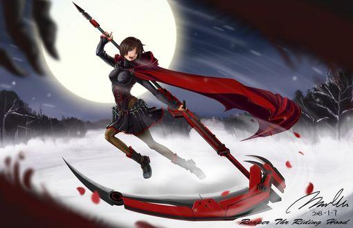 Обои Ruby / Руби с огромной косой на фоне луны, из аниме RWBY (Red, White, Black, Yellow)