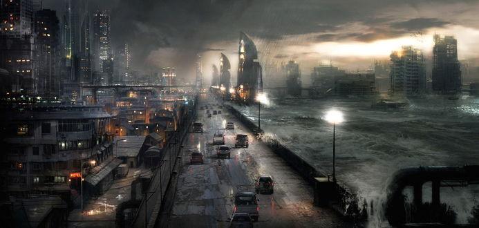 Обои Городская дорога у берега океана во время шторма и грозы