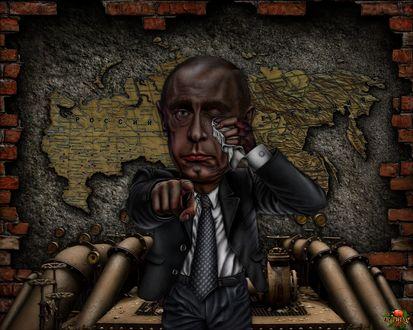 Обои Дело - труба: Владимир Путин утирает слезы на фоне карты России