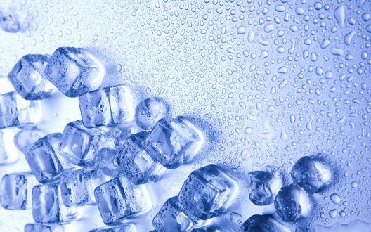 Обои Кубики льда с капельками воды