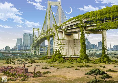 Обои Постапокалиптический Токио The Rainbow Bridge, from Odaiba, работа художника Tokyo Genso (Tokyo Fantasy)