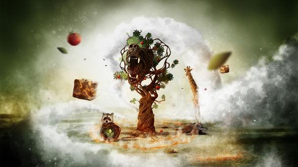 Обои Енот, жираф и утконос вокруг дерева тотема с яблоками