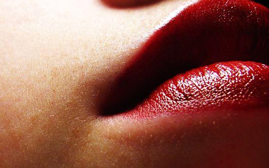 Обои Макросъемка губ девушки
