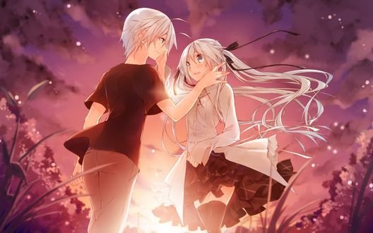 Обои Kasugano Haruka / Харука Касугано и Kasugano Sora / Сора Касугано стоят на фоне заката, из аниме Yosuga no Sora / Одиночество на двоих
