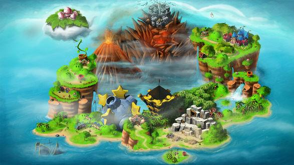 Обои Карта мира игры Супер Марио / Super Mario