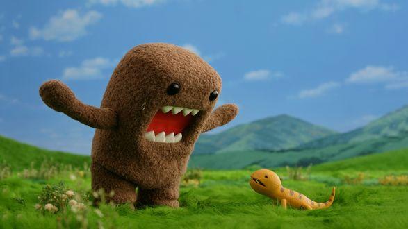 Обои Domo-kun / Домо-кун пугает ящерицу