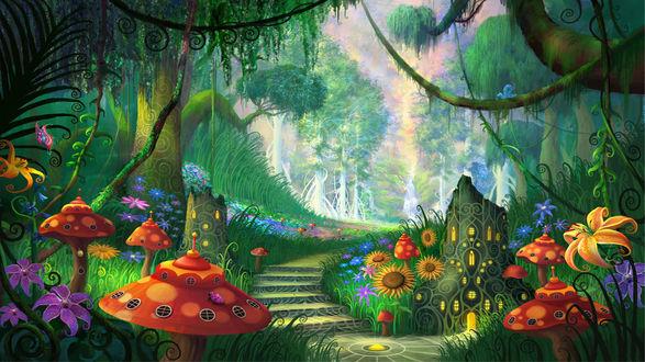 Обои Волшебный лес сказочного мира